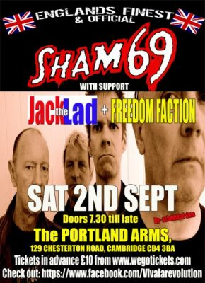 *SOLD OUT* GP Promotions: Sham 69 + Jack The Lad + Freedom Faction