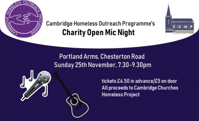 Open Mic night for Cambridge Churches Homeless Project